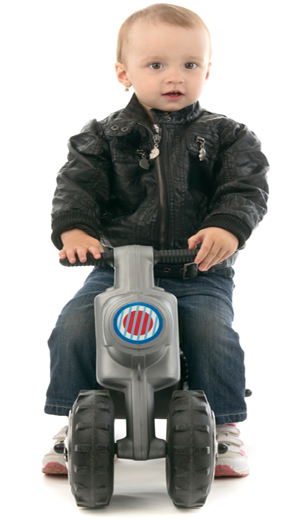 Baby-on-mini-motorcycle-in-leather-jacket